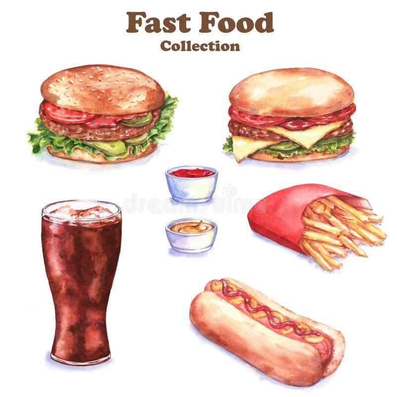Illustration tirée par la main d'aquarelle de nourriture différente : hamburger, cheeseburger, pommes frites, hot-dog, kola, sauc illustration libre de droits