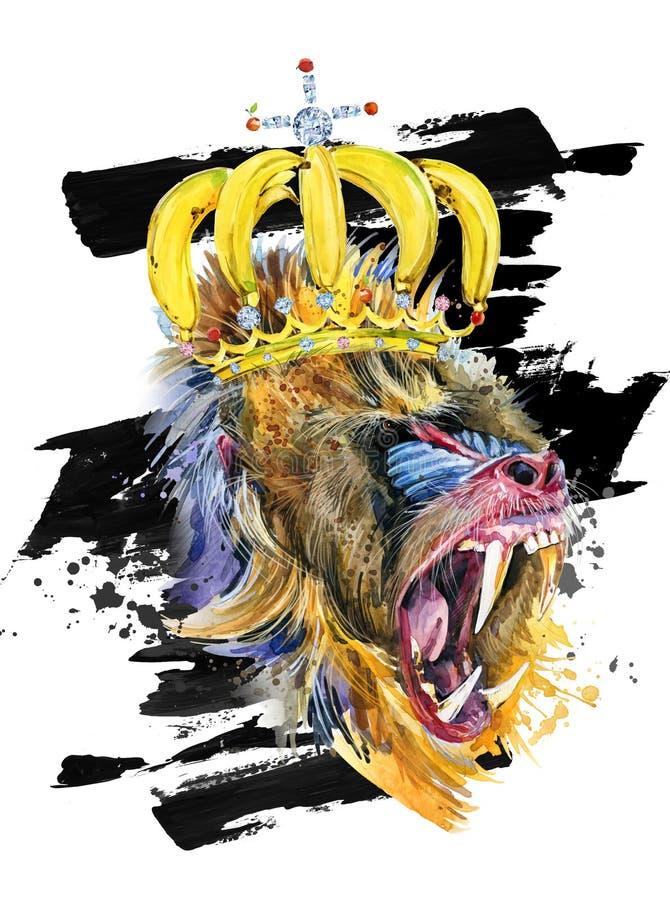 Illustration tirée par la main d'aquarelle de singe drôle illustration de vecteur