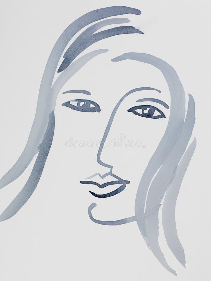 Portrait tiré par la main artistique d'aquarelle de femme illustration de vecteur