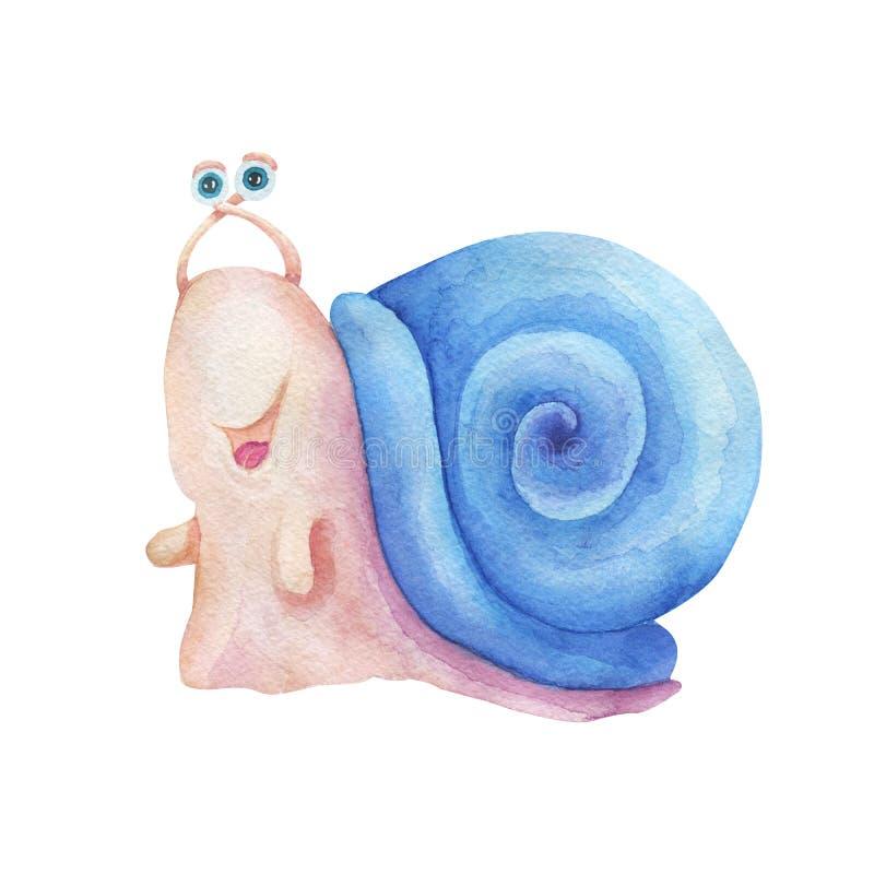 Illustration tirée par la main d'aquarelle L'escargot coloré de sourire de caractère mignon a isolé la peinture sur le fond blanc illustration stock