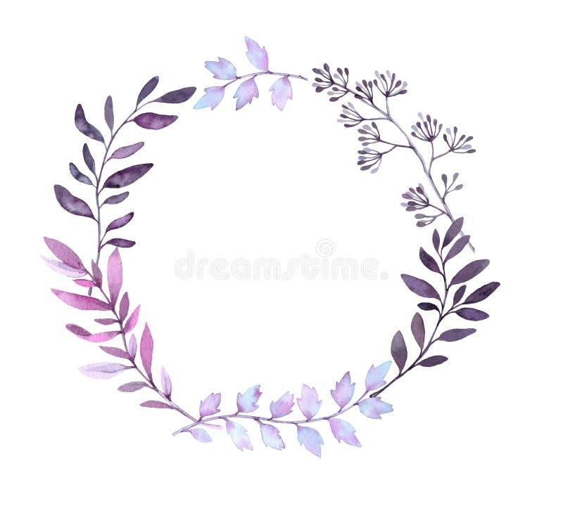 Illustration tirée par la main d'aquarelle Laurel Wreath avec des feuilles illustration stock