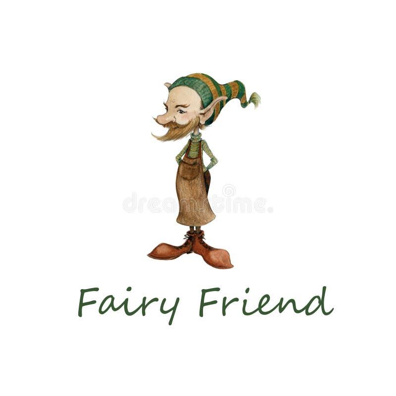 Illustration tirée par la main d'aquarelle d'un petit gnome féerique mignon dans le tablier et un chapeau drôle d'un cordonnie illustration stock