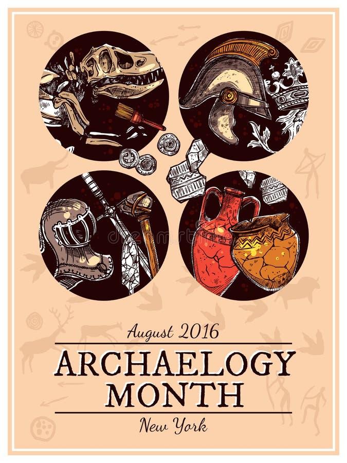 Illustration tirée par la main d'archéologie de croquis illustration stock