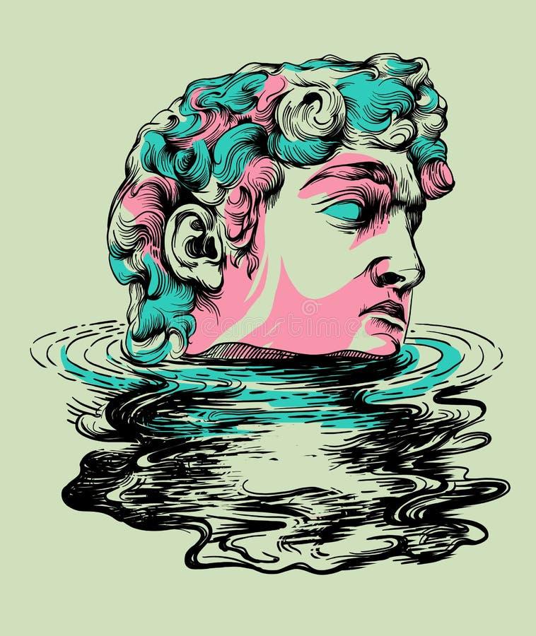 Illustration tirée par la main d'art de bruit de statue illustration stock