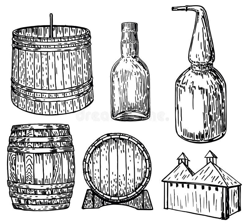 Illustration tirée par la main d'encre réglée de vecteur de distillerie illustration libre de droits