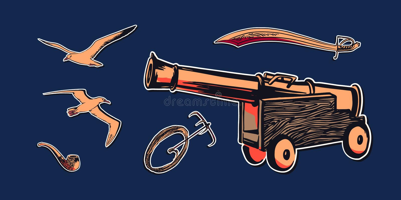 Illustration tirée par la main d'ensemble d'accessoires de pirate de croquis avec le canon antique de pirate de bateau, l'épée, l illustration stock
