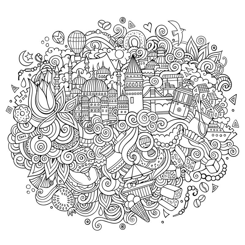 Illustration tirée par la main d'ensemble de vecteur d'Istanbul illustration stock