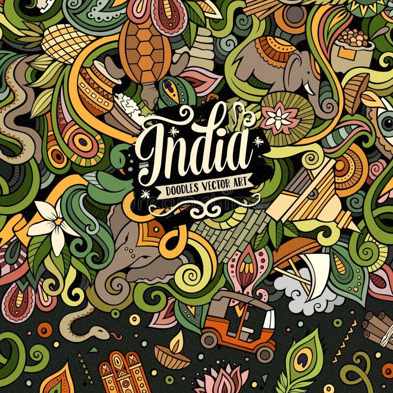 Illustration tirée par la main d'Inde de griffonnages de bande dessinée illustration libre de droits