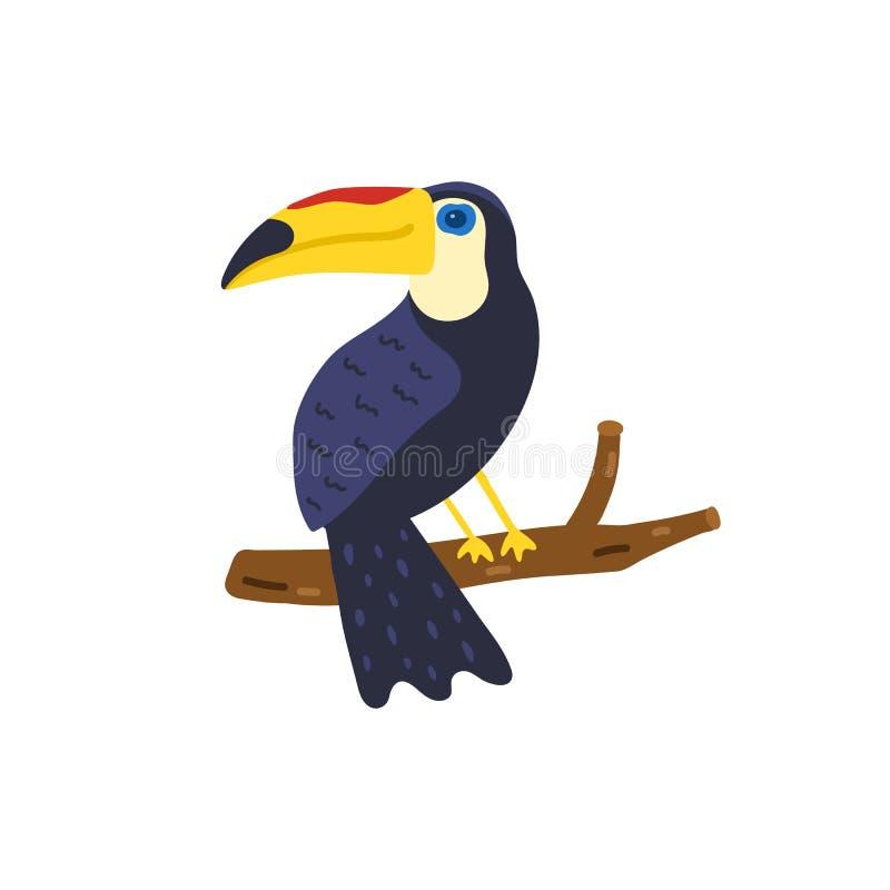 Illustration tirée par la main d'oiseau de toucan Toucan mignon d'isolement sur le fond blanc vecteur tropical d'illustration lum illustration stock