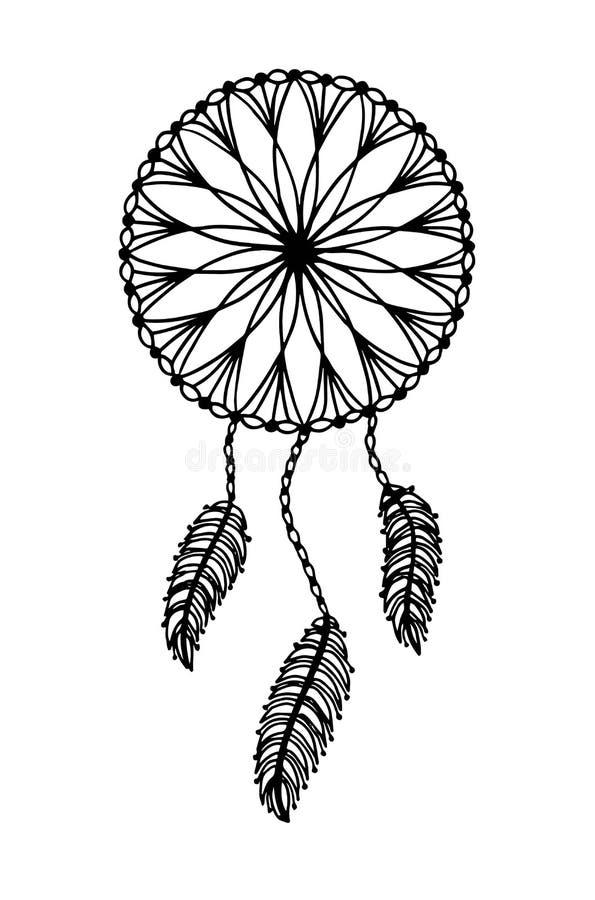 Illustration tirée par la main d'un dreamcatcher - illustration de vecteur illustration stock
