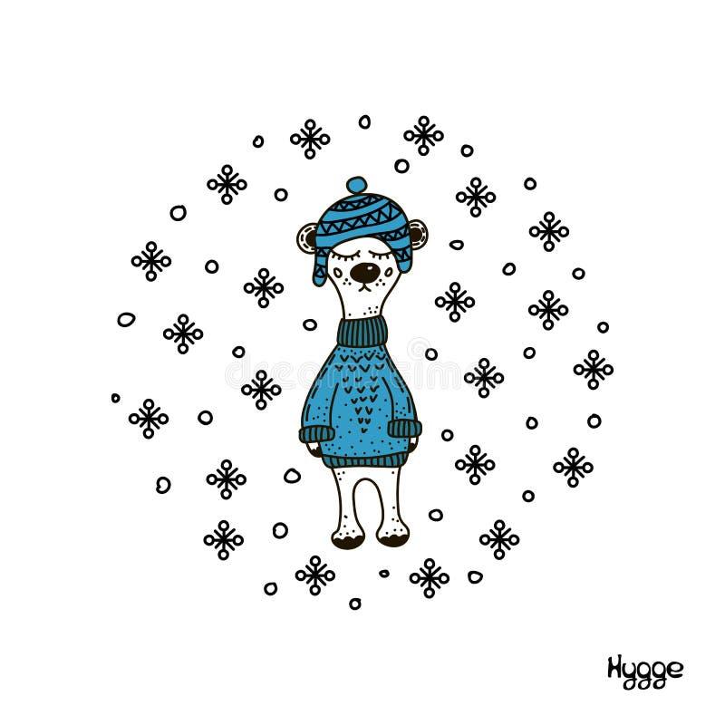 Illustration tirée par la main d'un ours drôle mignon dans un chapeau et un chandail tricotés Objets d'isolement sur le fond blan illustration de vecteur