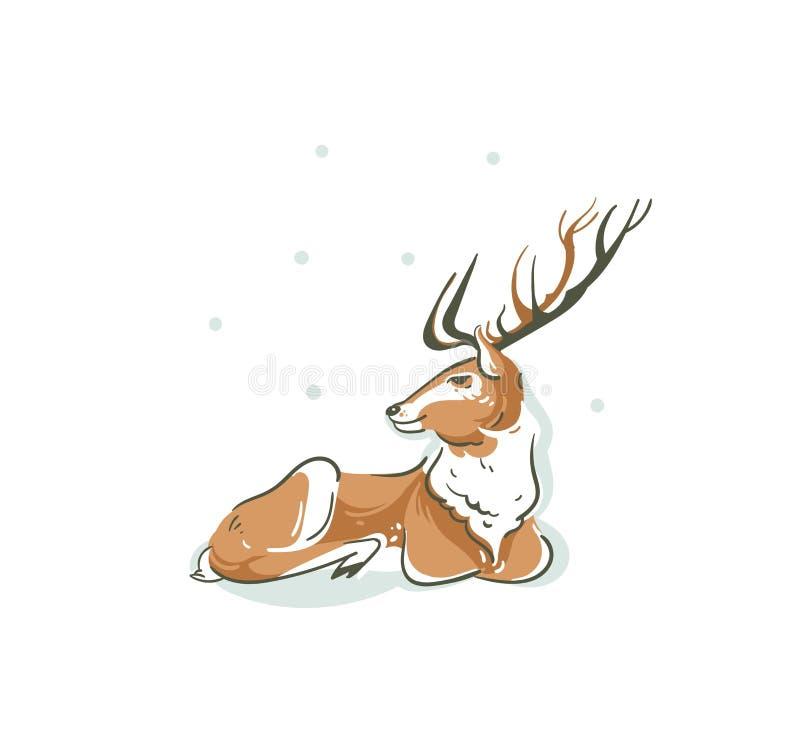 Illustration tirée par la main de bande dessinée de temps de Joyeux Noël d'amusement d'abrégé sur vecteur avec le jeune renne Rud illustration libre de droits