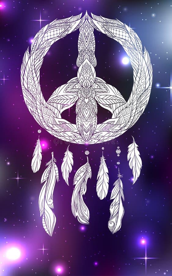 Illustration tirée par la main de boho de receveur rêveur avec le signe Pacifique et de plumes sur le fond cosmique illustration de vecteur