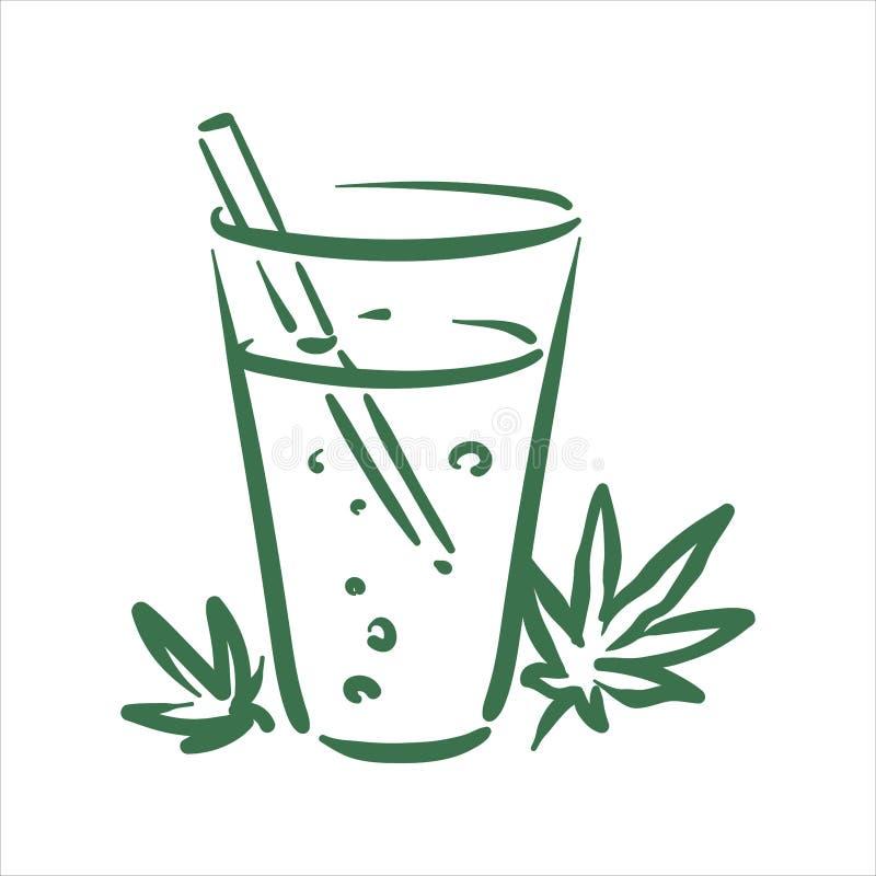 Illustration tir?e par la main de boissons de cannabis de PrintVector sur le fond blanc illustration stock