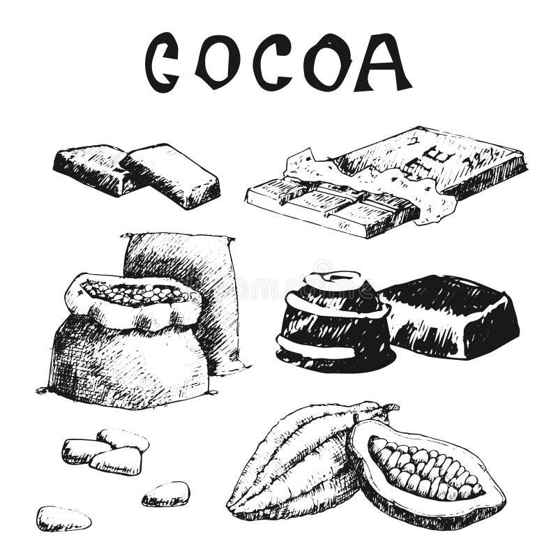 Illustration tirée par la main de bonbon à chocolat de nourriture de griffonnage de croquis de produits de cacao de vecteur illustration libre de droits