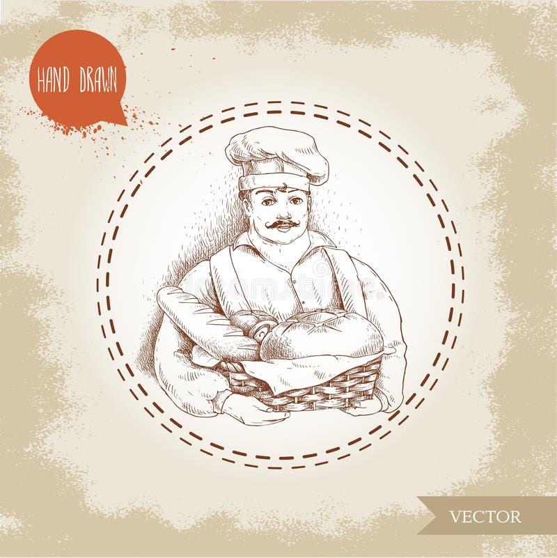 Illustration tirée par la main de boulanger avec le panier de boulanger du pain frais illustration de vecteur