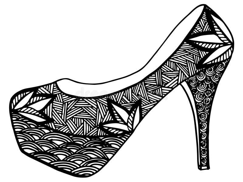 Download Illustration Tirée Par La Main De Chaussure De Talon Haut Illustration Stock - Illustration du décoratif, ornement: 87709238
