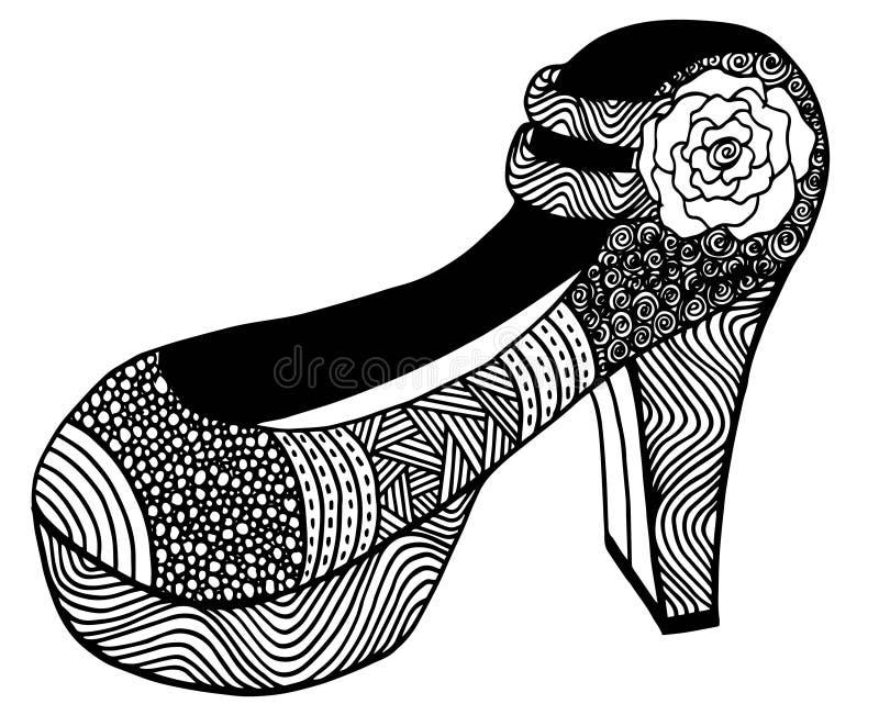 Download Illustration Tirée Par La Main De Chaussure De Talon Haut Illustration Stock - Illustration du ornement, beau: 87709269