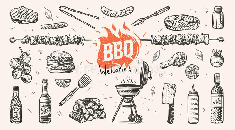Illustration tirée par la main de choses relatives de barbecue Vecteur illustration stock