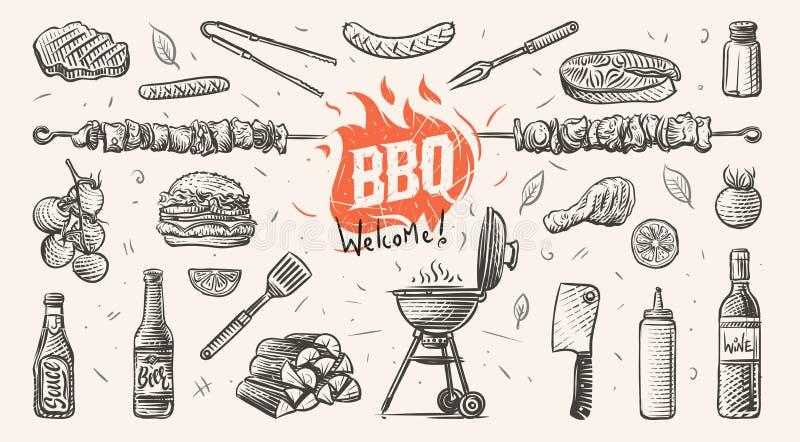Illustration tirée par la main de choses relatives de barbecue Vecteur illustration stock