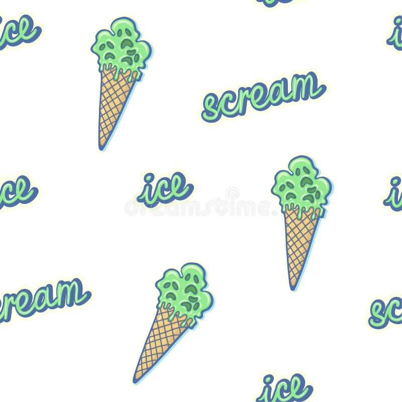 Illustration tirée par la main de crème glacée et de lettrage rampants drôles fous d'égoutture de vert de gaufre de cône de bande illustration de vecteur