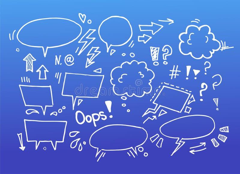 Illustration tirée par la main de croquis - bulles de la parole illustration stock