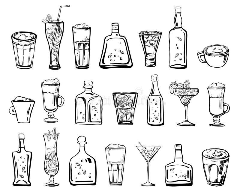 Illustration tirée par la main de croquis d'ensemble de vecteur avec différents cocktails, boissons de café et bouteilles d'alcoo illustration libre de droits