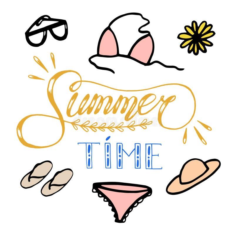 Illustration tirée par la main de croquis sur le fond blanc, éléments de conception vêtements et accessoires de l'été de la femme illustration libre de droits