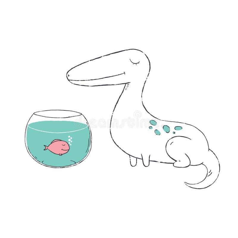 Illustration tirée par la main de Dino mignon illustration de vecteur