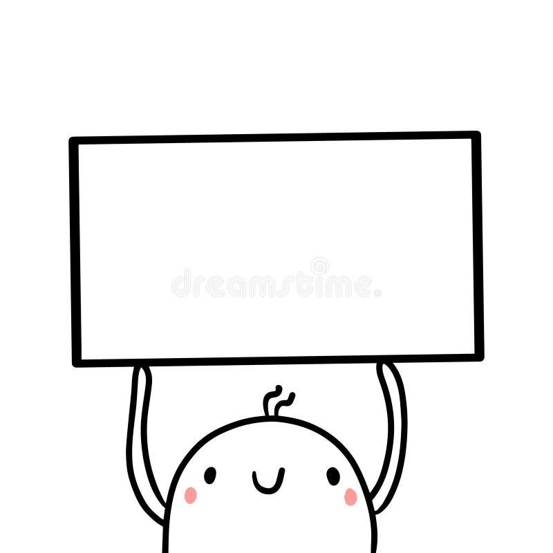 Illustration tirée par la main de guimauve de cadre mignon de participation illustration de vecteur