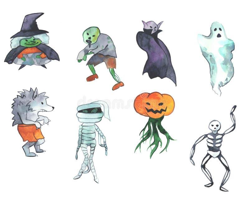 Illustration tirée par la main de Helloween d'aquarelle Ensemble de différents caractères de Halloween illustration de vecteur
