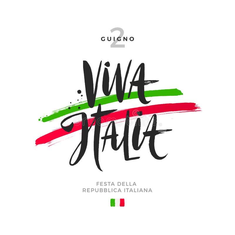 Illustration tirée par la main de jour italien de république Brosse marquant avec des lettres la salutation et les traçages en co illustration libre de droits