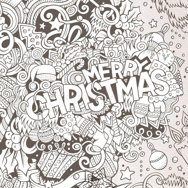 Illustration tirée par la main de Joyeux Noël de griffonnages mignons de bande dessinée illustration de vecteur