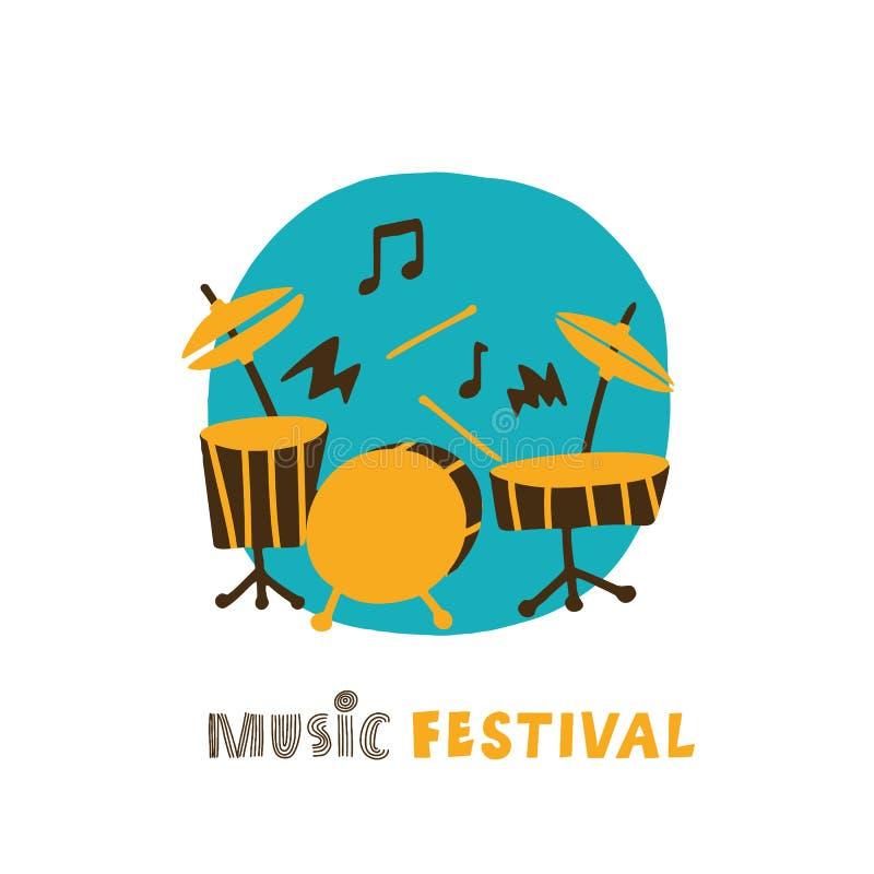 Illustration tir?e par la main de kit plaing de tambour Comcept de festival de musique Vecteur illustration stock