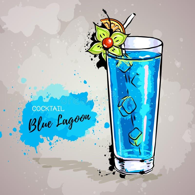 Illustration tirée par la main de lagune de bleu de cocktail illustration de vecteur