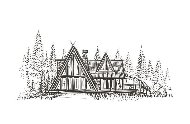 Illustration tirée par la main de maison moderne de cottage Vecteur illustration de vecteur