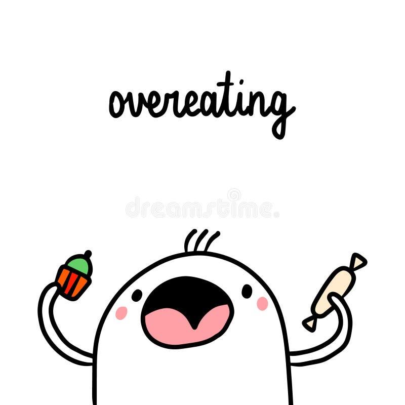 Illustration tirée par la main de mauvaise habitude de nourriture industrielle de manger avec excès avec la guimauve mignonne illustration de vecteur