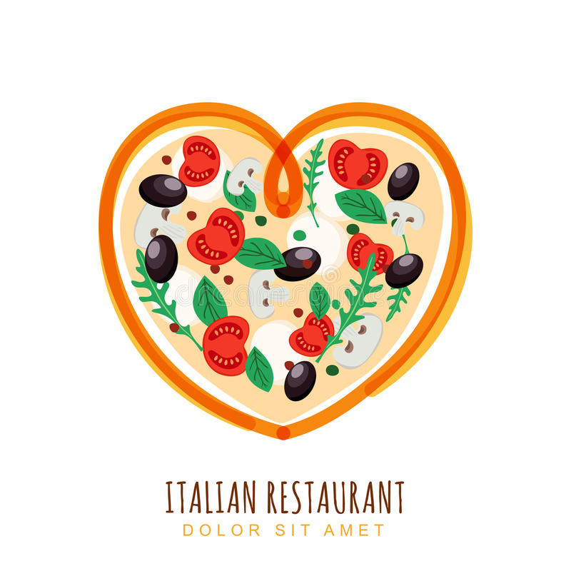 Illustration tirée par la main de pizza italienne dans la forme de coeur illustration stock