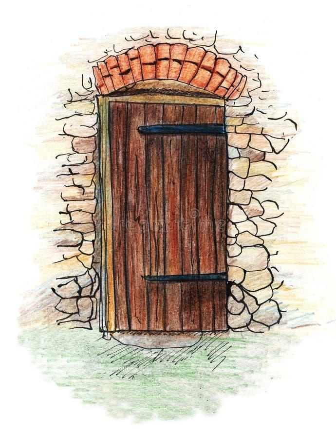 Illustration tirée par la main de porte en bois antique au crayon le style coloré illustration libre de droits