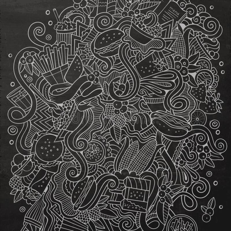 Illustration tirée par la main de prêt-à-manger de griffonnages mignons de bande dessinée illustration stock