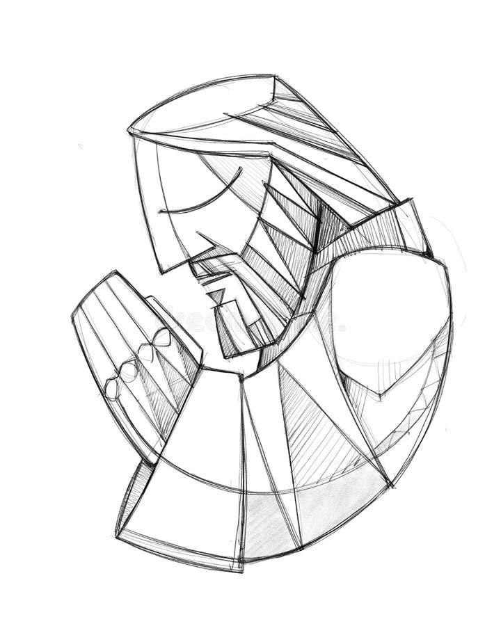 Illustration tirée par la main de prière de crayon de Jesus Christ illustration stock