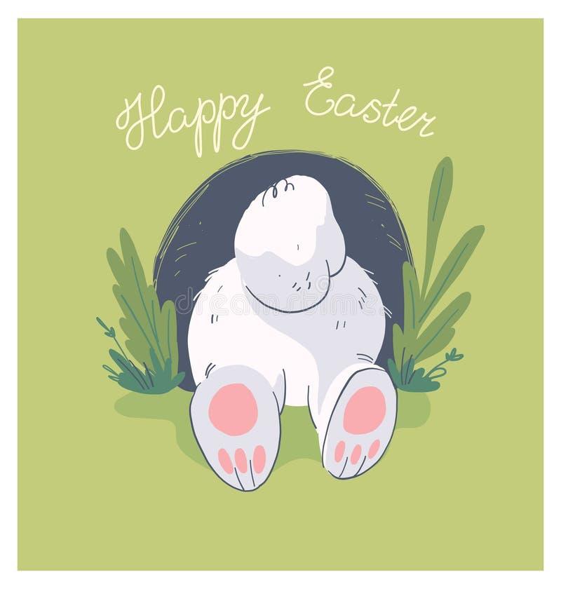 Illustration tirée par la main de vecteur avec le petit bout mignon de lapin de bébé en trou sur le fond illustration de vecteur