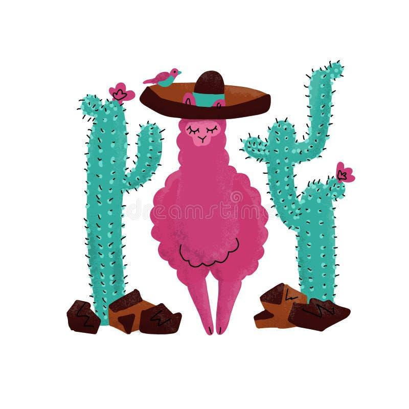 Illustration tirée par la main de vecteur de bébé rose d'alpaga Conception de clipart de lama ou d'impression d'alpaga pour la co illustration stock