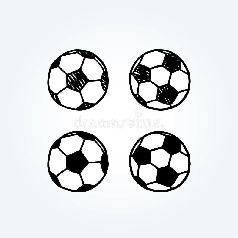 Illustration tirée par la main de vecteur de ballon de football griffonnage illustration de vecteur