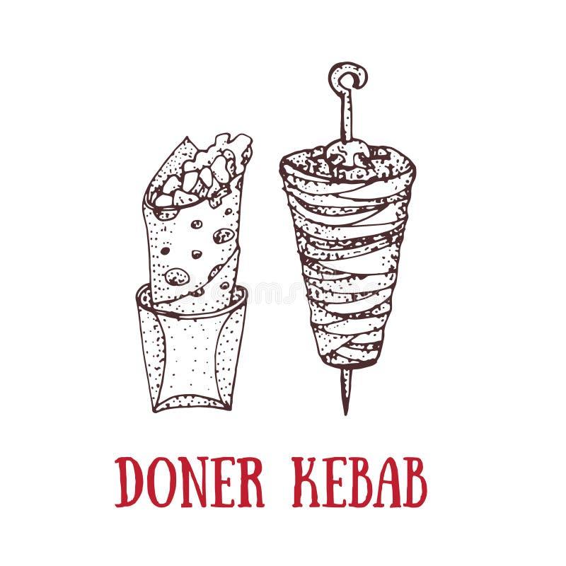 Illustration tirée par la main de vecteur de chiche-kebab de doner Roulez, petit pain de poulet, aliments de préparation rapide,  illustration stock
