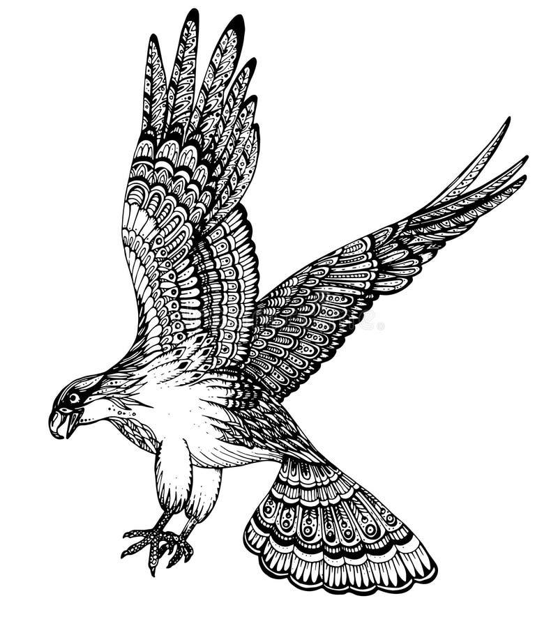Illustration tirée par la main de vecteur d'aigle décoratif illustration stock