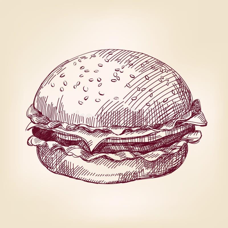 Illustration tirée par la main de vecteur d'hamburger illustration de vecteur