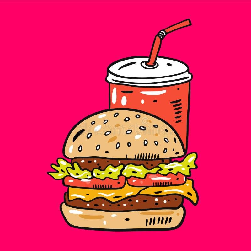 Illustration tirée par la main de vecteur d'hamburger et de kola Style de bande dessin?e d'aliments de pr?paration rapide D'isole illustration stock