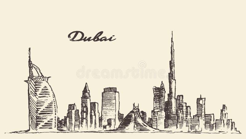 Illustration tirée par la main de vecteur d'horizon de ville de Dubaï illustration de vecteur