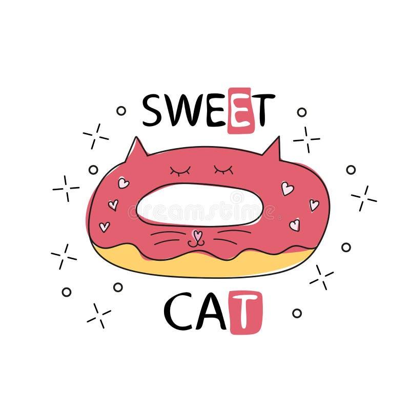 Illustration tirée par la main de vecteur d'un beignet drôle de kawaii avec des oreilles de chat D'isolement illustration libre de droits